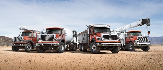 The series features two mid-range models: the HV507 has a set-forward axle (near the front bumper) and the HV607 has a set-back axle (away from the front bumper). (Photo courtesy of International Truck)