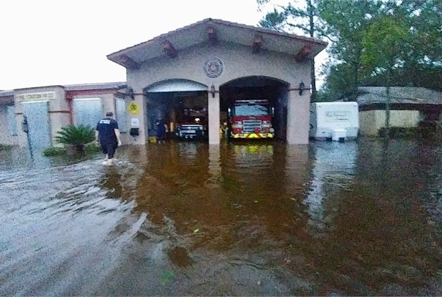 Flooding at a City of Jacksonville fire station. Photo courtesy of City of Jacksonville