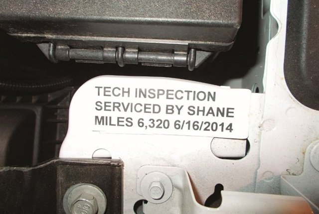 """Serviced by"" stickers tie technicians directly to the services they provide customers. Photo courtesy of Town of Jonesborough"