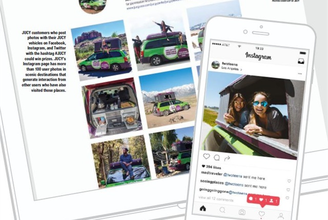 JUCY customers who post photos with their JUCY vehicles on Facebook, Instagram, and Twitter with the hashtag #JUCY could win prizes. JUCY's Instagram page has more than 100 user photos in scenic destinations that generate interaction from other users who have also visited those places. Photos courtesy of JUCY.