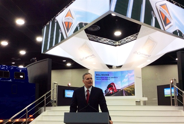 Navistar's Bill Kozek talks to reporters at MATS Thursday.