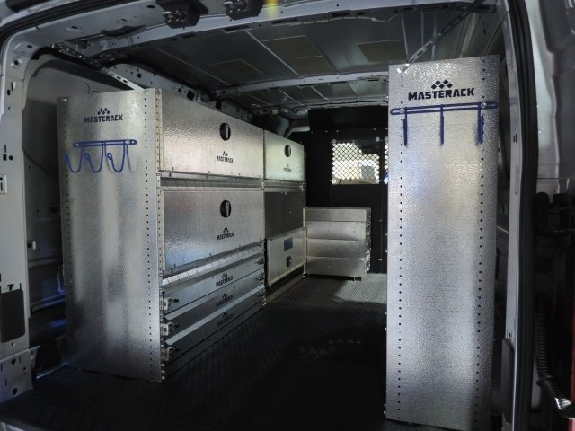 Locking storage doors inside a service body or van can keep materials organized, but also adds a layer of security should a thief get into the vehicle or body. (Photo courtesy of Leggett & Platt)