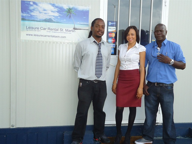 The Leisure Car Rental team includes Jimmy Fitzpatrick, general manager; Jacqueline Joseph Fitzpatrick, marketing executive; Carlos Joseph, yard manager.