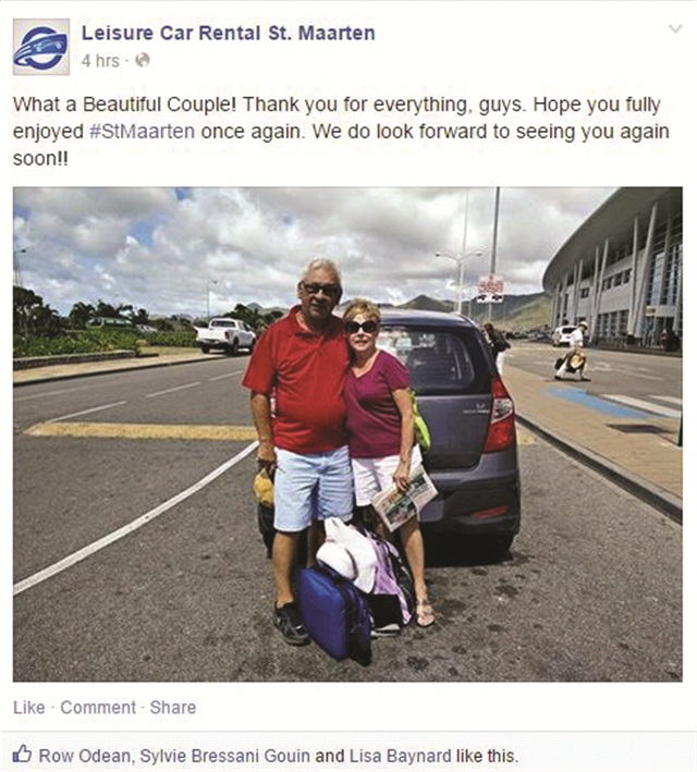 "On its Facebook page, Leisure Car Rental regularly posts photos of its customers with their rental cars and includes a ""thank you for renting with us"" note."
