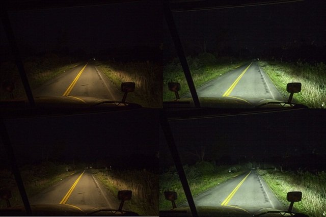 Compare the side-of-the-road lighting between both sets of lights on high and low beam. Then notice how the LEDs light the detail at the far end of the road, where the halogen lamps seem to just fade out — even on high beam. The color of the light is important, too. The LED light is closer to that of daylight, rather than the yellowish cast from the halogen lamps. This is exactly as it appeared to me in the tests.