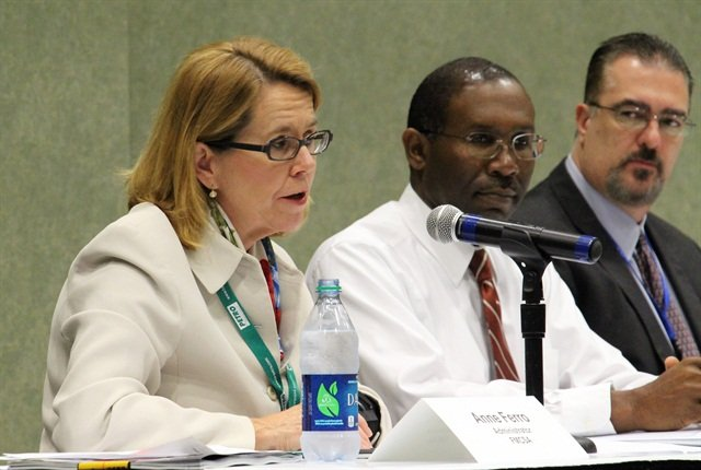 Anne Ferro, FMCSA administrator, asks a question while Larry Minor and other agency officials look on. Photo: Evan Lockridge