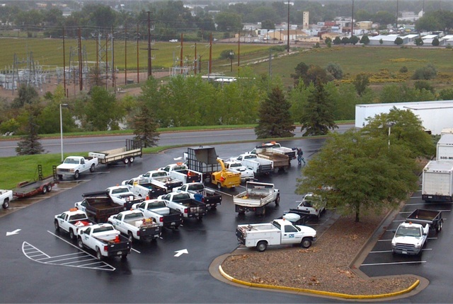 By immediately evacuating all vehicles stored in the flood plane, the City of Loveland, Colo., was able to prevent vehicle damage. Photo courtesy of City of Loveland