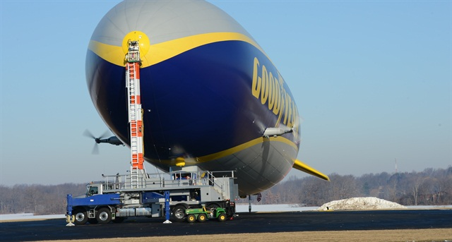 Needing a reliable truck tough enough to easily handle mooring the Goodyear Blimp, The Goodyear Tire & Rubber Company chose a modified Mack Granite model as a mast truck for its iconic cargo.