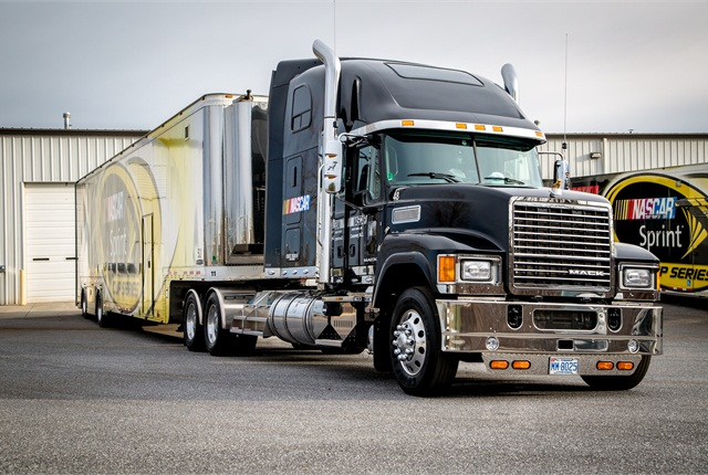 Pinnacle axle-forward (shown) and axle-back tractors are in the new NASCAR fleet.