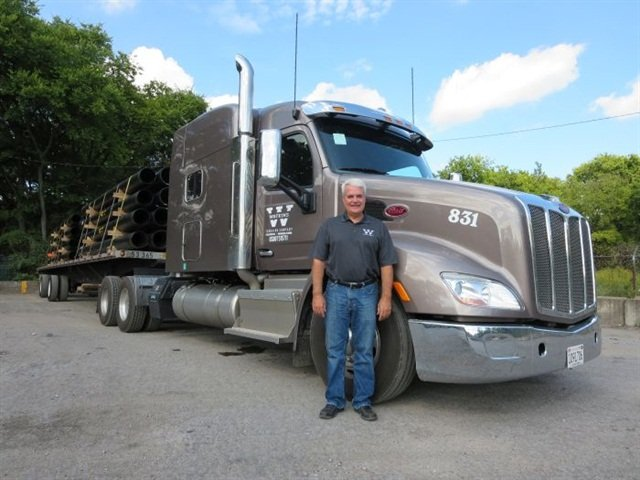 At Alabama-based Watkins, President and co-owner Wayne Watkins believes in spec'ing equipment with owner-operator-style extras to help attract and retain drivers. Longer wheelbases are part of a spec that helps Watkins specialize in higher-paying over-length loads. Photo: Deborah Lockridge