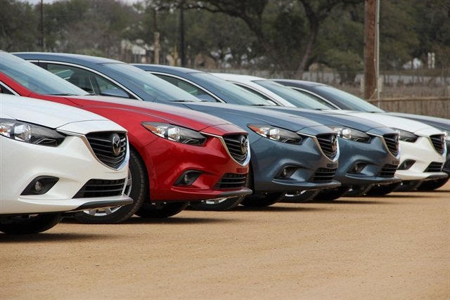 A row of 2014 Mazda6 models were lined up for journalists to test drive at the vehicle's launch in Austin, Texas.