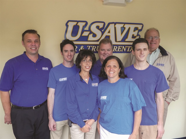 Tom Mellet's U-Save family in Glenside, Pa., consists of actual family members and long-time employees. From left to right: John Hartman (21-year employee), Stephen Mellet (son), Carol Morwald (23 years), Tom Mellett, Kathy Mellett (wife), James Mellett (son), and Rick Eisele (17 years).