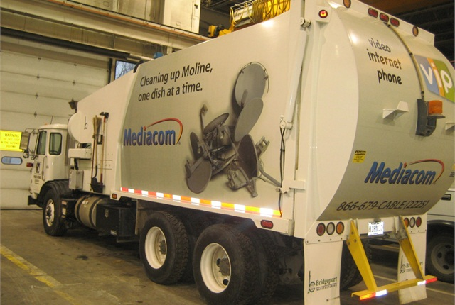 The City of Moline, Ill., uses advertising on its refuse vehicles to cover the maintenance costs of its automated refuse trucks.