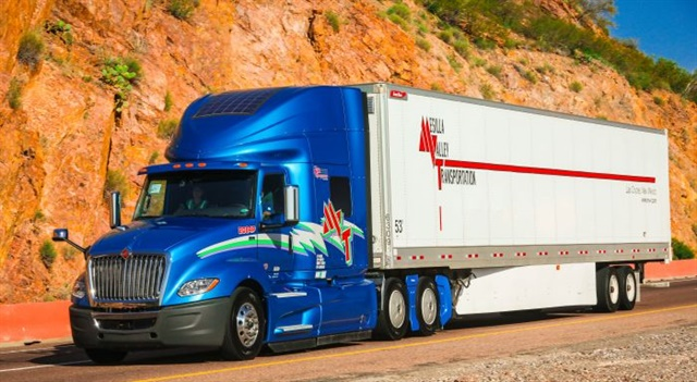 Mesilla Valley Transportation is using eNow's eCharge auxiliary solar system as part of its fuel efficiency spec. Photo: Mesilla Valley Transportation