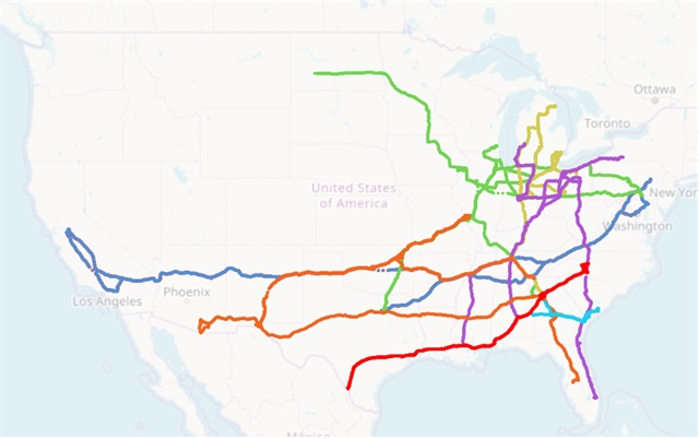 The 17-day Run on Less fuel-efficiency event featured diverse truck routes, all converging in Atlanta. (Routes displayed using the MyGeodata Cloud online tool.)