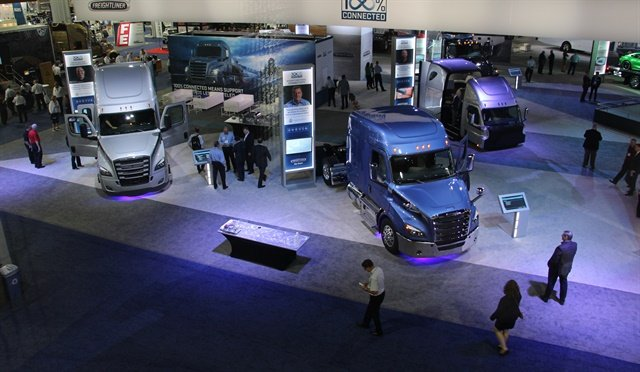 The view of the Daimler Trucks North America booth from one of the meeting rooms above the show floor at the inaugural NACV Show. Photo: Evan Lockridge