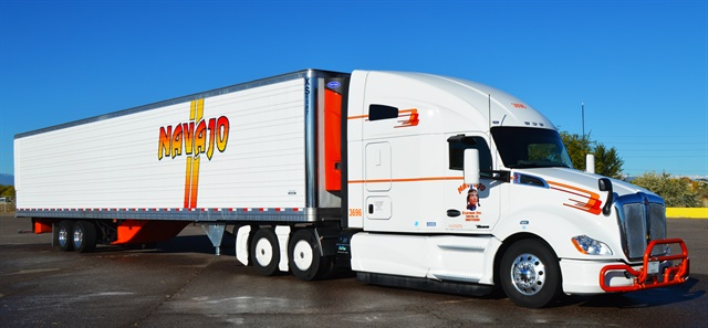 Navajo Express's tractors are 2014 or newer models, and it got permission to run high-capacity 57-foot trailers in certain states.