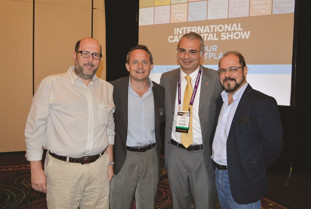 Paulo Gaba (second from right) of FENALOC, the Brazilian car rental association, poses with two associates and Chris Brown. Gaba gave an update on the Brazilian car rental market during the opening seminar at the Latin American Meeting.
