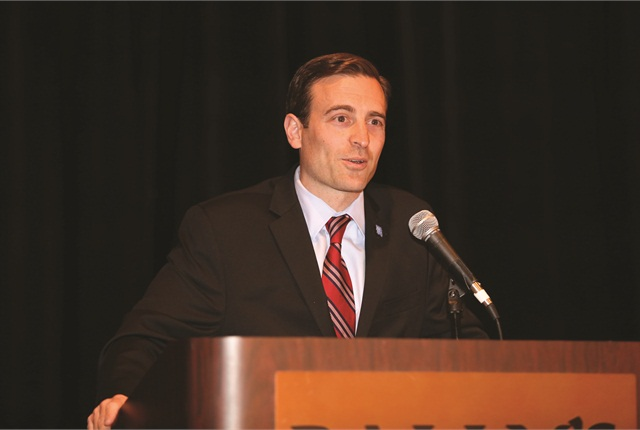 Adam Laxalt, attorney general for the state of Nevada, delivered the opening address on Monday morning. Photo by Steve Reed.
