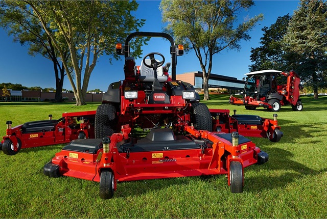 The redesigned Toro Groundsmaster 5900/5910 large-area mower boasts a 16-foot cutting width, allowing the operator to mow more than 100 acres per day. Photo courtesy of Toro