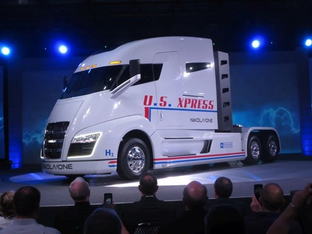 """The Nikola One sleeper-cab prototype unveiled in early December in Salt Lake City looks like no other. It's lettered for U.S. Xpress, whose Chairman and CEO Max Fuller believes Nikola One will be """"a game changer."""" Photo: Tom Berg"""