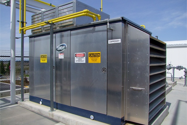 Pictured is a 200-hp non-lubricated CNG compressor package with acoustical enclosure, part of a CNG fuel station.Photo courtesy of Marathon Corporation.