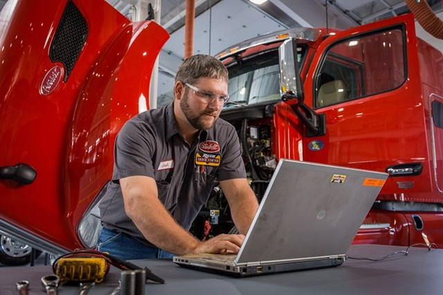 Diagnostic tools are vital for fleet maintenance procedures today. But the systems can be expensive and difficult to use across different makes and models of trucks. Photo: Rush Truck Centers