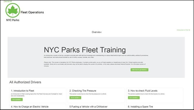 NYC Parks' new online fleet driver training program includes training videos, reading materials, and quizzes. Screencapture courtesy of NYC Parks