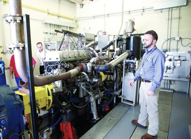 Inside an engine test cell at San Antonio's Southwest Research Institute, which helped develop two new engine tests that define the wear-performance parameters of the new PC11-A and PC-11-B oil-service categories for heavy-duty applications.