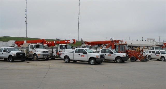 The Omaha Public Power District fleet consists of 1,441 vehicles and equipment. Mike Donahue, manager of transportation and construction, uses various methods to reduce fuel use. Photo courtesy of OPPD