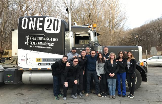 Christian Schenk, center, with the One20 team, which aims to give drivers the tools and discounts that will help make their lives easier. Photo: One20