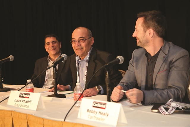 Monday's opening keynote address featured a panel of representatives from car rental and travel platforms (l to r: Steve Matise of Travelport, Imad Khalidi of Auto Europe, and Bobby Healy of CarTrawler). Photo by Steve Reed.