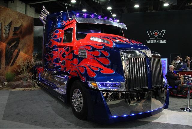 Optimus Prime offered a sneak peak at the newest Western Star. Photo: Evan Lockridge