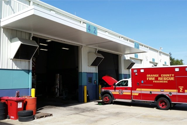 Adding awnings to the shop's doors gave technicians more room to work in the shade. Photo courtesy of Orange County
