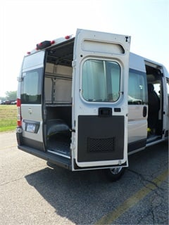 The ProMaster has an available two-position rear clamshell door that swings open up to 260-degrees.