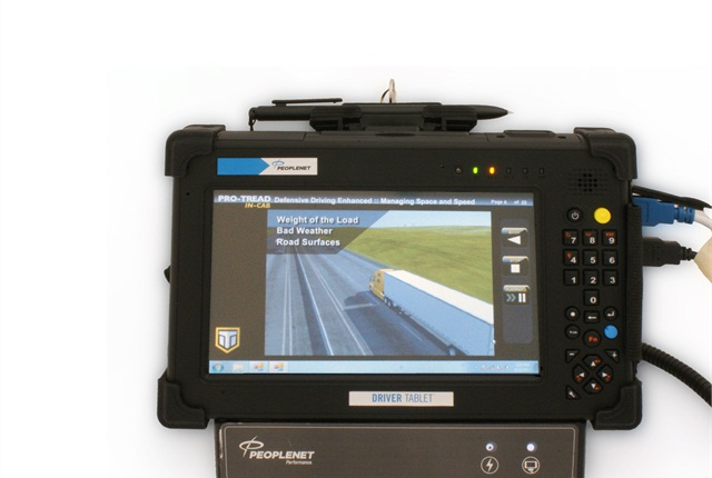 Some fleets send training courses directly to the truck cab via the mobile communications system, such as this Pro-Tread lesson from Instructional Technologies on PeopleNet's in-cab and Tablet devices.