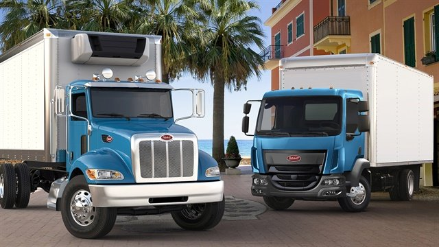 With five medium-duty truck models available for 2018, Peterbilt offers conventional and cabover trucks powered by the PACCAR PX-7 and PX-9 engines. (Photo: Peterbilt)