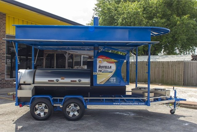 The rolling BBQ weighs about 4,000 pounds. Want one similar to it? It'll cost about $16,000.