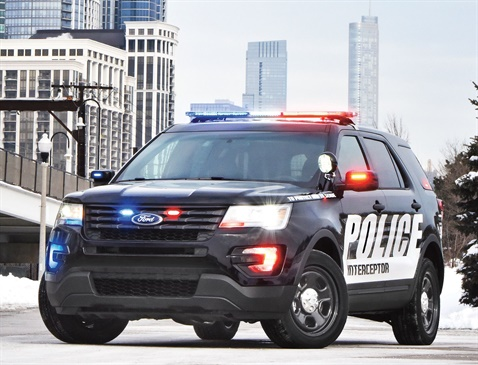 The 2017 Ford Police Interceptor Utility is equipped with police-calibrated intelligent AWD, standard for all Police Interceptor models. Photo courtesy of Ford