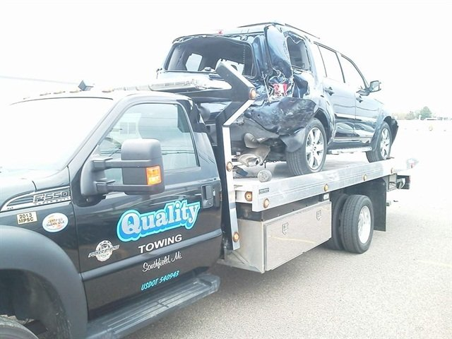 A majority of Quality Towing's business comes from police departments that need an accident vehicle towed.