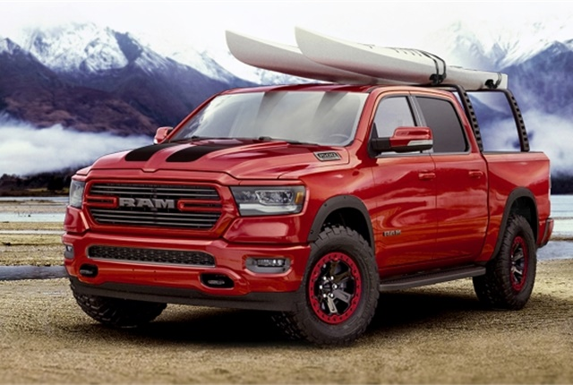 The Ram Truck and Mopar brands teamed up today at the Chicago Auto Show to debut an outdoor-sport-themed 2019 Ram 1500 modified with a selection of the more than 200 Mopar parts and accessories available for the all-new truck. (Photo: FCA US)