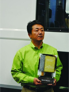 WT magazine presented the 2012 Medium-Duty Truck of the Year award to Hidekazu (Kaz) Noto, president of Isuzu Commercial Truck of America at the 2012 Work Truck Show.