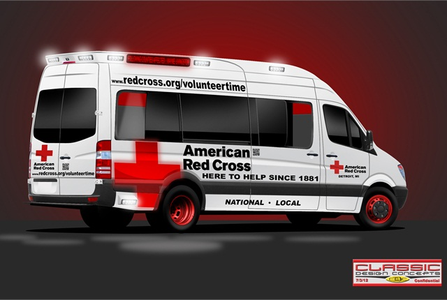 A drawing by Classic Design Concepts, the company that handled the upfitting process for the vehicle. Photo courtesy American Red Cross.