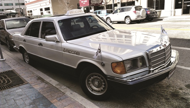 "This biodiesel-powered vintage Mercedes-Benz sedan is owned by ReCab, ""an eco-friendly luxury taxi service."" ReCab Owner James Orr says that Beth Baird, his local Clean Cities coordinator, helped him navigate laws and regulations to fuel his fleet with locally sourced biodiesel."