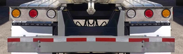 Tanker fleets are more likely to use amber turn signals than other operators. This trailer also has white backup lights.