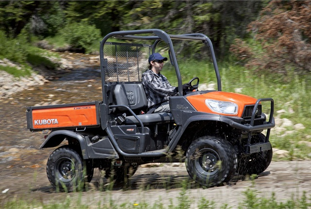 The Kubota RTV X900 has a heavy-duty hydraulic lift steel cargo dumping box that can carry up to a half ton. Photo courtesy of Kubota.