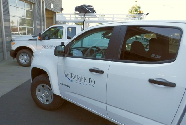 All Department of General Services vehicles have been equipped with GPS devices. Photo courtesy of Sacramento County