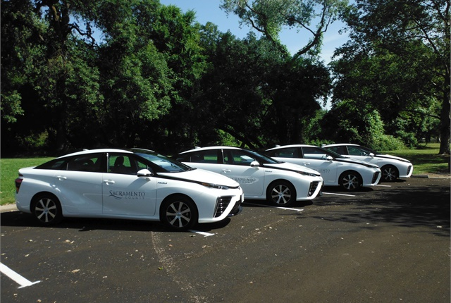 Sacramento County, Calif., is using its four Toyota Mirai fuel cell vehicles in its motor pool and hopes to add six more to departments by the end of the year. Photo courtesy of Sacramento County