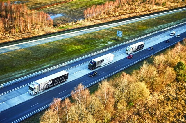 Vehicle-to-vehicle technology, such as that used in Daimler's recent demonstration of autonomous platooning technology in Europe, will further enhance high-tech safety systems. Photo: Daimler Trucks