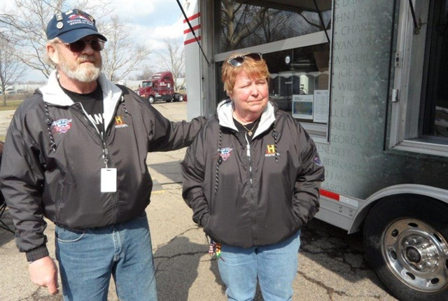 Bob & Brenda Dobek will drive their KW T600B and the display trailer to 19 sites by Veterans Day in November. Columbus, Ohio, was their first stop.